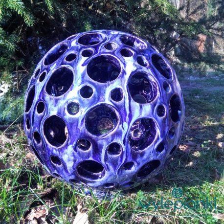 azurowa ceramiczna kula do ogrodu
