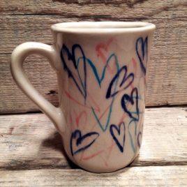 kubek w serca rekodzielo handmade