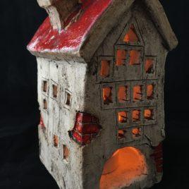 Stary domek ceramiczny na świeczkę bez numerka