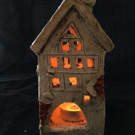 Turkusowy domek ceramiczny na świeczkę II